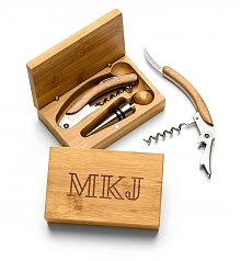 Wine Accessories & Decanters: Engraved Bamboo Wine Tool Set
