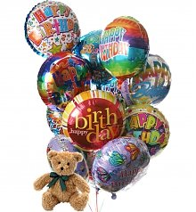 Balloons & Bear: Birthday Balloons & Bear-12 Mylar