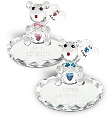 Personalized Keepsake Gifts: New Baby Crystal Bear with Free Engraving